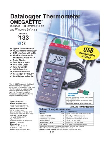 Datalogger Thermometer with USB and RS232   HH306A