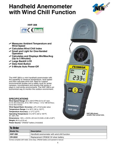 Handheld Anemometer with Wind Chill Function