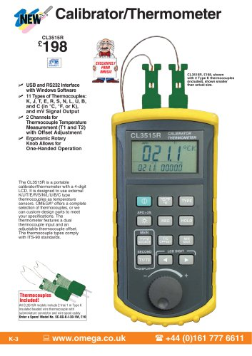 Handheld Thermocouple Simulator/Thermometer with USB CL3515R