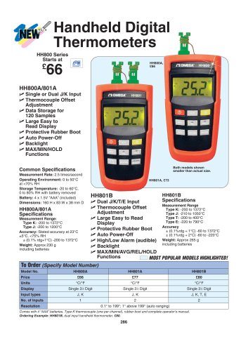 Handheld Thermocouple Thermometers  HH800 Series