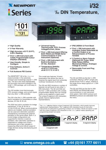 i-Series 1/32 DIN Programmable Strain/ Process Controllers and Meters