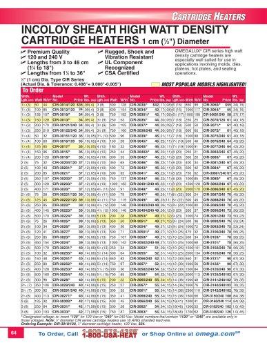 Incoloy Sheath CIR Series High Watt Density Cartridge Heaters  CIR Series