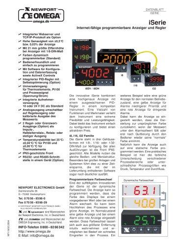 iSerie  Internetfähige Temperatur/Prozessanzeige oder PID-Regler