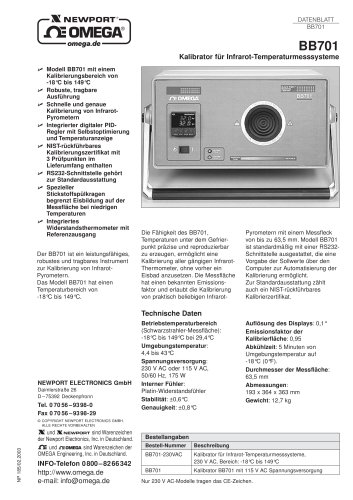 Kalibrator für Infrarot-Pyrometer Modell BB701