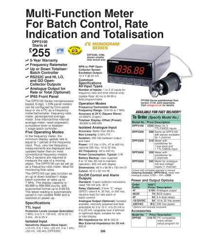 MultiFunction Meter for Batch Control, Rate Indication and Totalization  DPF5100