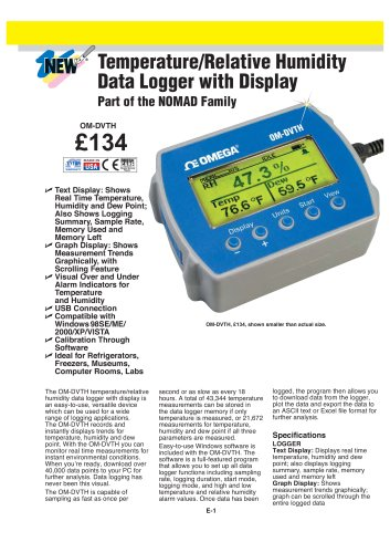 OM-DVTH Temperature and Relative Humidity Data Logger with Display