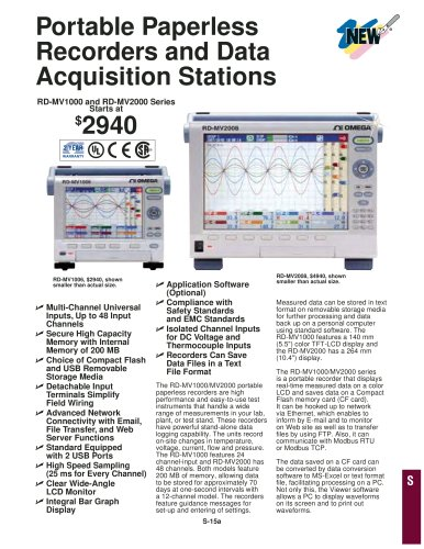 Portable Paperless Recorders and Data Acquisition Stations RD-MV1000 and RD-MV2000 Series