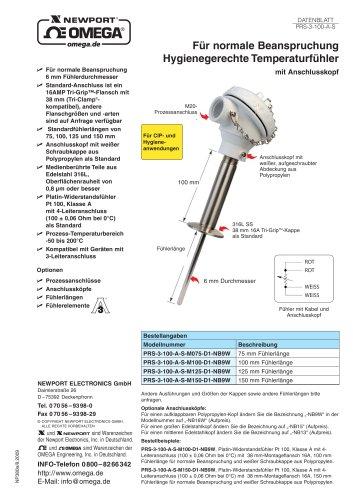 PRS-3-100   Hygienegerechte Temperaturfühler