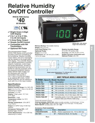 Relative Humidity On/Off Controller RHCN-7000 Series