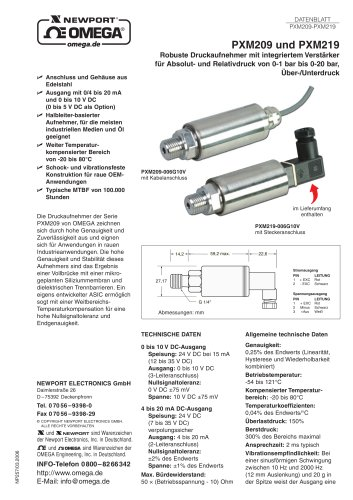 Robuste Druckaufnehmer mit integriertem Verstärker
