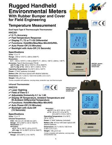 Rugged Handheld Environmental Meters