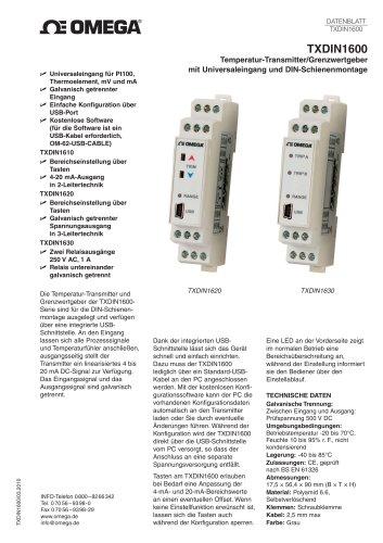 Temperatur-Transmitter/Grenzwertgeber mit Universaleingang und DIN-Schienenmontage