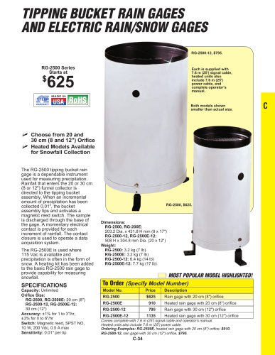 TIPPING BUCKET RAIN GAGES AND ELECTRIC RAIN/SNOW GAGES