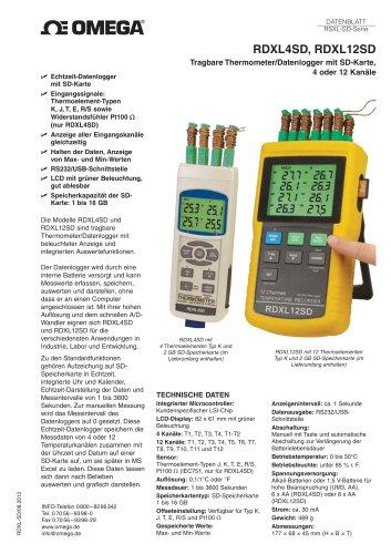 Tragbare Thermometer/Datenlogger mit SD-Karte, 4 oder 12 Kanäle