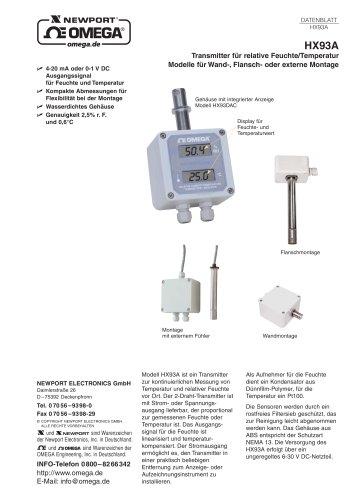 Transmitter für Relative Feuchte/Temperatur