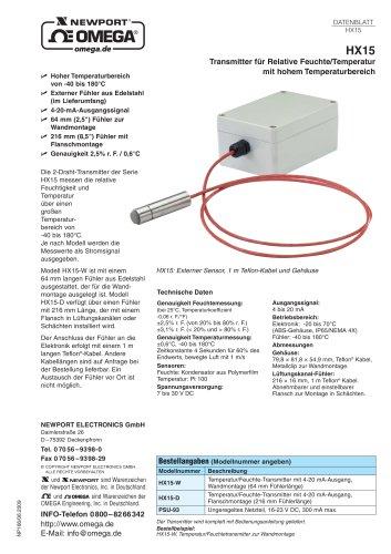 Transmitter für Relative Feuchte/Temperatur mit hohem Temperaturbereich  Modell HX15