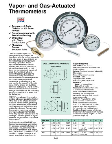 Vapor- and Gas-Actuated Thermometers