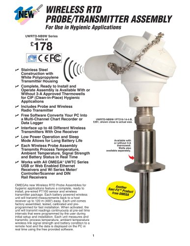 Wireless Pt100 Probe/Transmitter Assembly UWRTD-TW-NB9W Series
