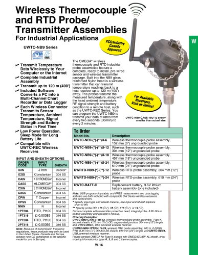 Wireless Thermocouple and RTD Probe/ Transmitter Assemblies