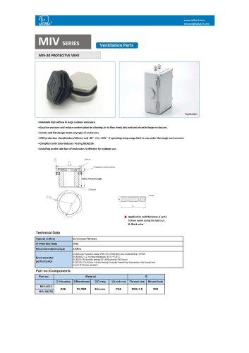 M20x1.5 Long Thread Type Vent Plug