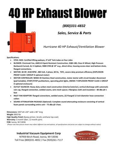 40 HP Exhaust Blower