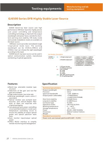 6500 Series DFB Highly Stable Laser Source