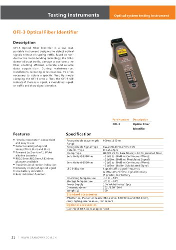 OFI-3 Optical Fiber Ïdentifier