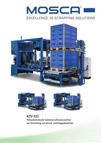 KZV-321 Vollautomatische Seitenverschlussmaschine zur Umreifung von Einzel- und Doppelpaletten