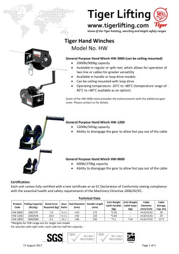 Tiger Hand Winches