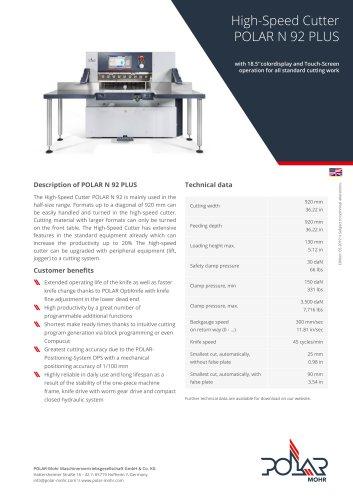 High-Speed Cutter POLAR N 92 PLUS