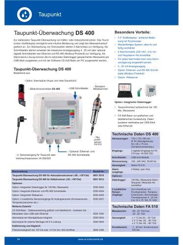 Technisches Datenblatt DS 400 Taupunktüberwachung