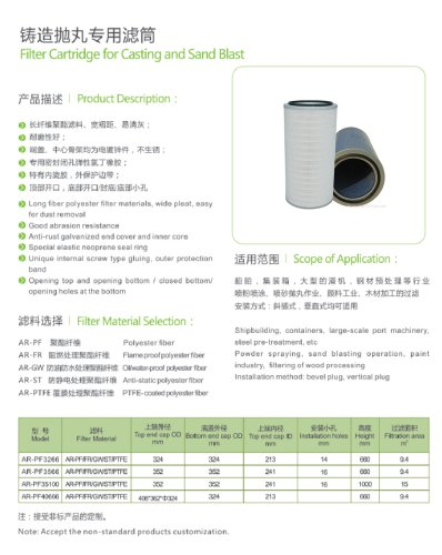 Filter Cartridge for Casting and Sand Blast