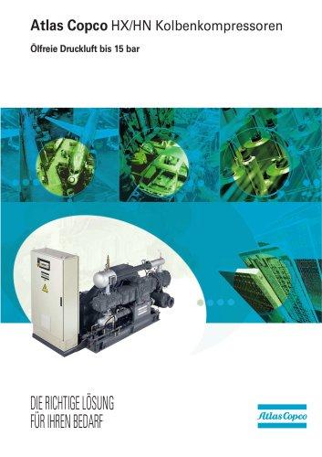 Atlas Copco HX/HN Kolbenkompressoren Ölfreie Druckluft bis 15 bar