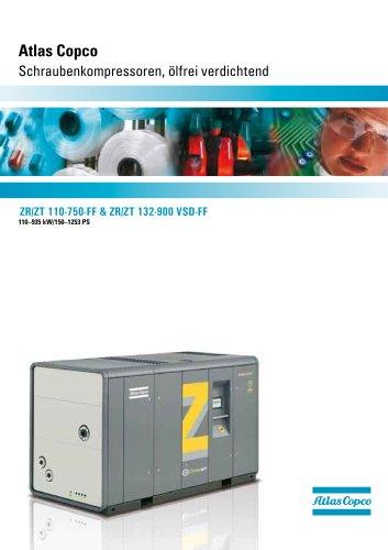 Atlas Copco Schraubenkompressoren, ölfrei verdichtend 110–935 kW/150–1253 PS