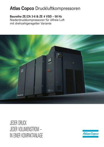 Baureihe ZE/ZA 3-6 & ZE 4 VSD – 50 Hz Niederdruckkompressoren für ölfreie Luft mit drehzahlgeregelter Variante