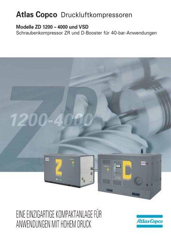 Modelle ZD 1200 – 4000 und VSD Schraubenkompressor ZR und D-Booster für 40-bar-Anwendungen