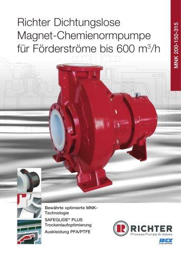 Dichtungslose Magnet-Chemienormpumpe für Förderströme bis 600 m3/h MNK 200-150-315