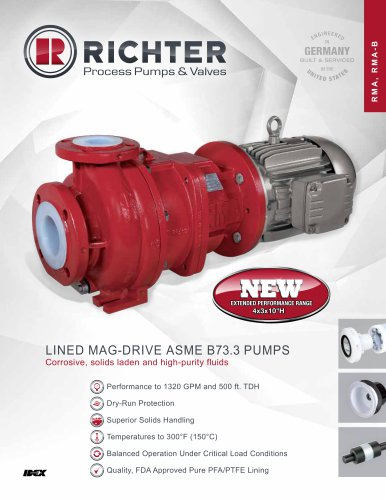 Lined mag drive ASME/ANSI pumps RMA, RMA-B