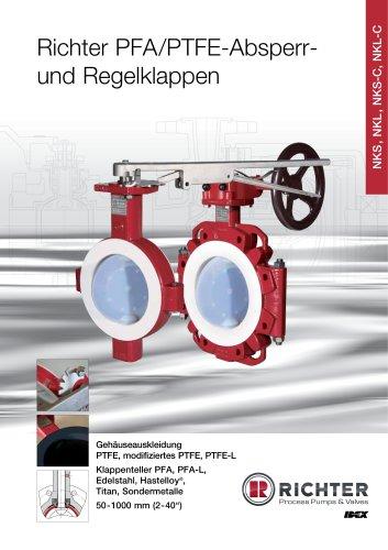 PFA/PTFE Absperr- und Regelklappen NKS, NKL