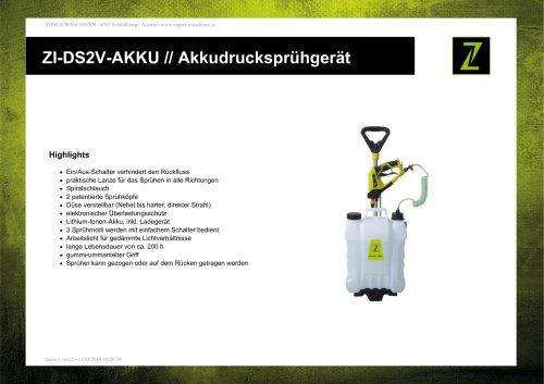 ZI-DS2V-AKKU // Akkudrucksprühgerät