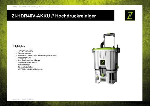 ZI-HDR40V-AKKU // Hochdruckreiniger