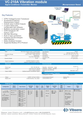 VC210A Vibration Signal Conditioner/Transmitter/Monitoring Module