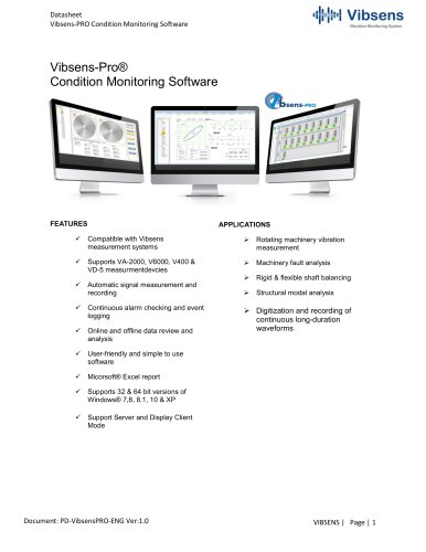 VibsensPro Condition Monitoring Software