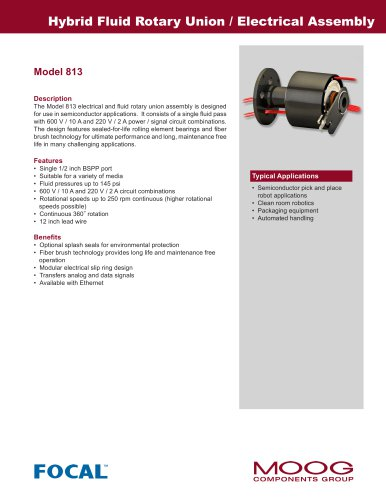 Hybrid Fluid Rotary Union / Electrical Assembly