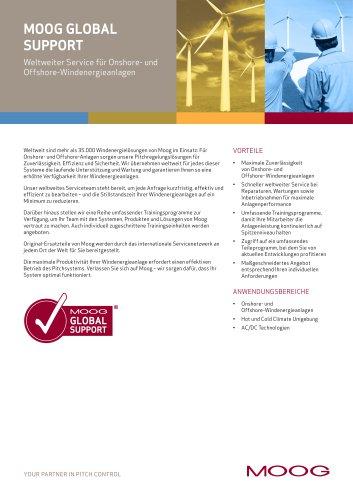 Moog Global Support - Weltweiter Service für Onshore- und Offshore-Windenergieanlagen