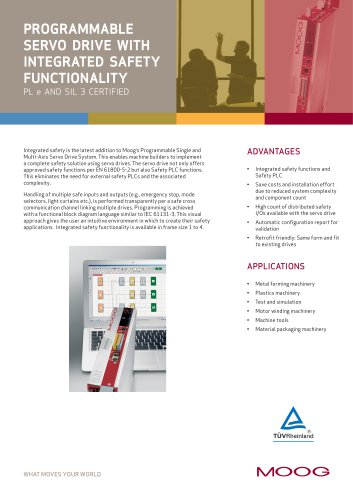 Programmable Servo Drive with integrated safety functionality