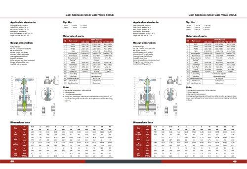 CAST STAINLESS STEEL Wedge Gate Valve ANSI 16.5 API 603 150#-300# ASTM MATERIAL A351 -KOSA VALVE