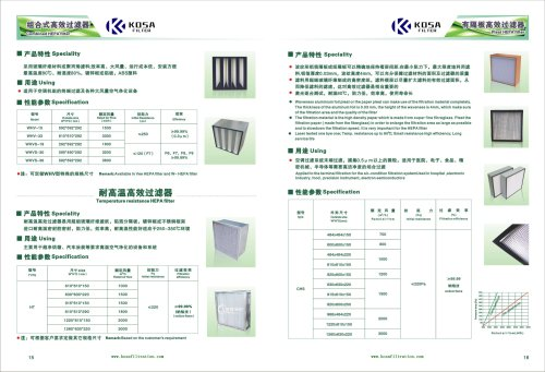 High temperature resistant high efficiency filter -KOSA FILTER