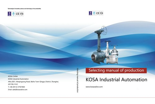 KOSA INDUSTRIAL VALVES Catalog