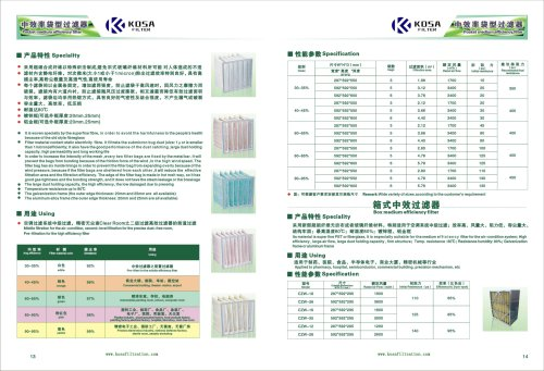 Pocket medium efficiency  fiber bag filter KOSA FILTER